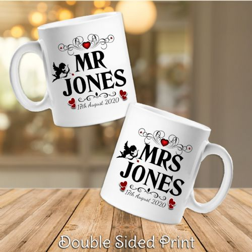 Pair of Personalised Mr & Mrs Novelty Gift Mugs N42